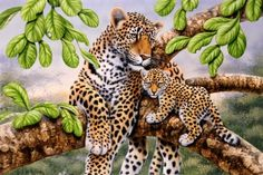 Youll be seeing spots when you install this wall mural. A mother leopard reclines in a leafy tree with her adorable cub. The wonderful detail the artist has provided to the leopard spotted fur, the bright green leaves and to the rough tree bark gives this Capa Do Face, Leopard Cub, Murals Your Way, Creation Photo, Paint By Number Kits, Wildlife Art, Animal Paintings, Big Cats, Cross Stitch Patterns