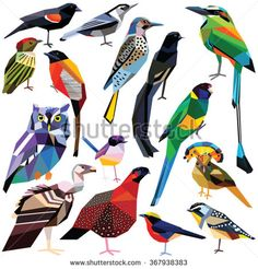 Birds-set colorful low poly design isolated on white background