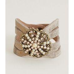 Leatherock Laser Cut Bracelet ($40) ❤ liked on Polyvore featuring jewelry, bracelets, gold, laser-cut jewelry and leatherock
