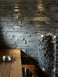 Slate wall in sauna