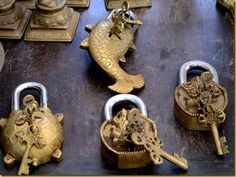Antique locks in a market in Karaikudi