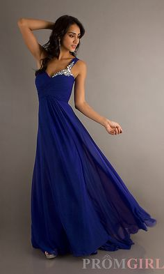 Long Royal Blue One Shoulder Gown by Crush