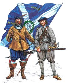 1642 - 1651 The English Civil War 1642-1651 Ensign with colour, Master of Yester's Regt Musketeer, Scottish foot