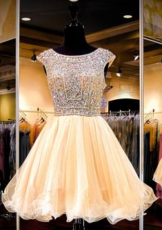 A-line Sparkly Beaded Bodice Tulle Backless Homecoming Dresses,apd1587 –…