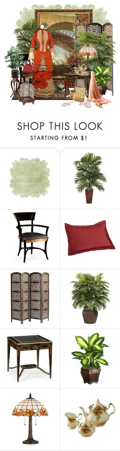 """""""Au bonheur des dames"""" by sagramora ❤ liked on Polyvore featuring Nearly Natural, Jonathan Charles Fine Furniture, Ellis Curtain, Pier 1 Imports, Cal Lighting, Reed & Barton, Royal Albert and INC International Concepts"""