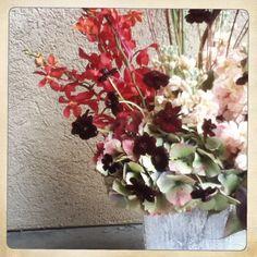 Mokara Orchids, Chocolate Cosmos, Hydrangea, Stock, Liquid Amber