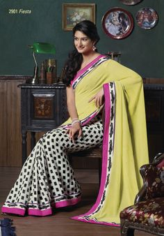 Bhagal puri white & black color saree with a beautiful lemon yellow pallu & pink color border patti