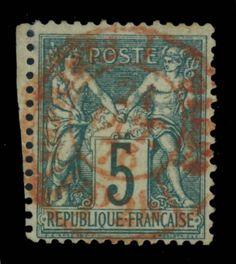 TYPE SAGE - 1876 - N°64 5c VERT (N sous B) CAD ROUGE DES IMPRIMÉS signé A.BRUN in Timbres, France, France: oblitérés | eBay