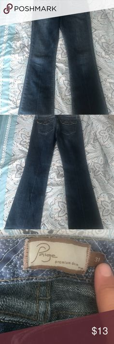 Don't miss out on these Paige jeans! Reposh - great condition, but unfortunately, they don't fit me (I really wish they did!). Size 31 (I would say fit like an 8-10). Fairfax style, so bootcut/slight flare. Great denim color and back pockets to make your booty look good! And check out the great price! These are totally worth it! 😊 PAIGE Jeans Boot Cut