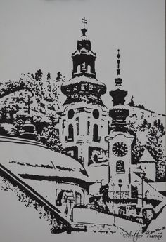 "Portfolio - Aether Visions ""Banská Štiavnica"" in Chinese ink. A small city in the heart of Slovakia - that is where my heart lies :) It used to be a mining city, famous for its veins of gold and silver. It is like the city from a fairytale - tall towers, big gates, two castles and historic walls."