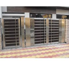 steel and wood fabricated gate New Gate Design, Gate Wall Design, Grill Gate Design, House Main Gates Design, Steel Gate Design, Front Gate Design, Bed Design, Wooden Gate Designs, Gate Designs Modern