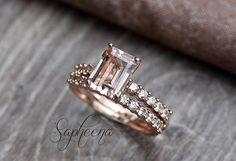 Emerald Cut Morganite Engagement Ring/Band Set in 14k Rose