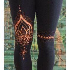 bleached Yoga/Goa Leggings Lotus ❤ liked on Polyvore featuring pants, leggings, graphic leggings, graphic print leggings, leggings yoga pants, legging pants and heavy pants