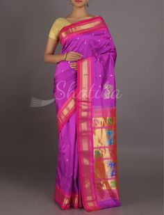Ananya Very Berry Splendor Ornate Pallu Real Zari #PaithaniSilkSaree