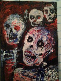 Zombie horror art original art card series by jack larson