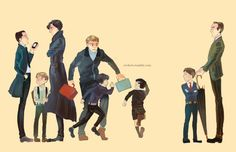 """""""John, Sherlock, Moriarty, and Mycroft as kids, next to their adult counterparts. Adorable."""" I just cannot get over little John over there with Sherlock. It's just...so cute...I cannot handle it. I can't."""
