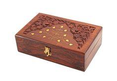 Wooden Jewelry Trinket Storage Box Multipurpose Hand Craved Floral Design Brass