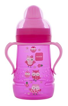 MAM Trainer (Sippy Cup)- Pink- Patchwork Owl designs!    If Lacey took a bottle I would totally get this...