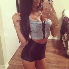 denim corset with high waist black shorts
