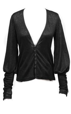 Punk Rave Gothic Black Echo Cardigan  Super soft and stretchy cardigan from Punk Rave. The Black Echo cardigan is a great piece of Gothic everyday clothing and features small metallic skull buttons, a...