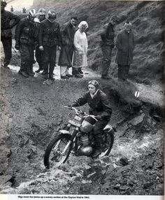 Olga Kevelos, Trials motorcyclist, was born in Edgbaston, Birmingham in 1923. After the War, having taken motobike lessons from a boyfriend, she became a successful Trials rider. Competing internationally, She won two gold medals at the 1949 and 1953 International Six Days Trial and went on to ride with varying degrees of success in every every ISDT through 1966 and in every Scottish Six Days Trial until she retired in 1970.