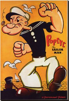 Popeye Stretched Canvas Print at eu.art.com