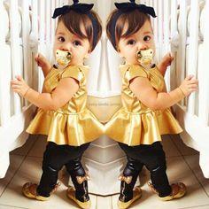 Fashion Kids Baby Girls Shirt Dress + Legging Pants Set Clothes Outfits Y Fashion Kids, Little Girl Fashion, Toddler Fashion, Fashion Clothes, Friends Fashion, Cheap Fashion, Dress Fashion, New Baby Girls, Kids Girls
