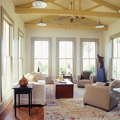 Tall Window-Filled Addition - love the tall windows and open ceiling.