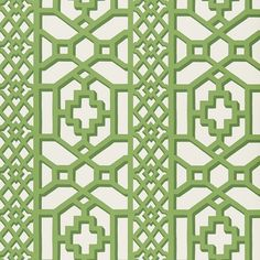 Zanzibar Trellis | 175741 in Jade | Schumacher Fabric |  Inspired by Elsie de Wolfe's trellised rooms, this fretwork pattern was introduced in the 1970s. Reimagined with modern, graphic appeal, it's available as a fabric and a wallpaper.