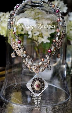 Cabbage Rose, Hand-painted,Vintage Rose Pendant, Mother Of Pearl Rosary Beads, Faux Pearls by thevintagerevivals on Etsy https://www.etsy.com/listing/241350159/cabbage-rose-hand-paintedvintage-rose