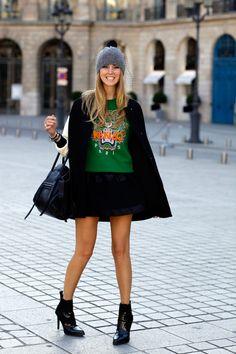 3c7c7e46a #fashion #fashionista Chiara nero verde Sunday during Paris fashionweek |  The Blonde Salad Kenzo