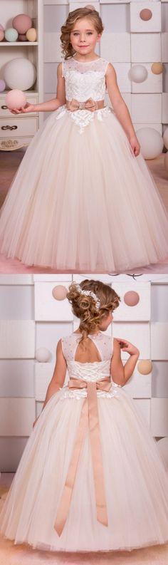 Flower Girl Dresses, A Line dresses, Long White dresses, Open Back Dresses, White Long Dresses, White Flower Girl Dresses, Open-back Flower Girl Dresses, Bowknot Flower Girl Dresses, Round Flower Girl Dresses, A-line/Princess Flower Girl Dresses