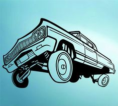 Lowrider Car with Hydraulics Decal Sticker Wall by PerfectPeacocks, $32.00