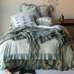 Bella Notte Bedding, we love all of Bella Notte Linens options for colors, style, and comfort. Superior quality at that. Come by June DeLugas Interiors and let us help you pick out your custom Bella Notte Linens bedding. Shabby Chic Bed Linen, Camas Shabby Chic, Textured Bedding, Bed Scarf, Linen Duvet, Linen Sheets, Ruffle Duvet, Cotton Bedding, Decorative Pillow Cases