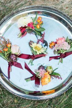 Colorful Boutonnieres with Silk Ribbon Detail Bike Wedding, Summer Wedding, Zinnias, Chrysanthemum, Silk Ribbon, Wedding Pictures, Lush, Real Weddings, Wedding Inspiration