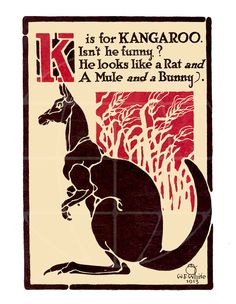 Items similar to K is for Kangaroo - Vintage Letter Print - 11 x 16 inches on Etsy Vintage Prints, Vintage Posters, Animal Alphabet, Alphabet Soup, Australian Vintage, Magazines For Kids, Vintage Lettering, Animal Drawings, Animal Illustrations