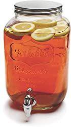 Circleware 66944 Sun Tea Mini Mason Jar Glass Beverage Dispenser with Metal Lid Glassware For… - Drink Dispenser Juice Dispenser, Glass Beverage Dispenser, Easy Jungle Juice, Pregnant Drinks, Red Raspberry Leaf, Drinking Jars, Sun Tea, Mini Mason Jars, Wine And Liquor