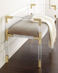 Jonathan Adler Jacques Bench gold office interior stylish fashion living room with gold bench. Click the link to shop right now! Jonathan Adler, Acrylic Furniture, Acrylic Bench, Living Spaces, Living Room, Take A Seat, My New Room, Home Furnishings, Home Accessories