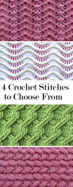 4 Crochet Stitches to Learn - Design PeakToday we are sharing with you 4 crochet stitch tutorials. All of them are very interesting, useful and rather beautiful. Theses tutorials have somewhat saIn the present day we're sharing with you four crochet sew t Crochet Stitches Free, Tunisian Crochet, Crochet Blanket Patterns, Crochet Motif, Crochet Designs, Stitch Patterns, Crochet Stitches For Blankets, Crochet Yarn, Embroidery Stitches