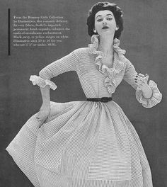 Adore the ruffles! #vintage #fashion. 1950's. But can she breath?