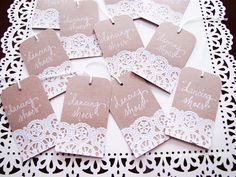 Doily Name Place Place Card Tags Shabby Chic Vintage by RachelCarl, $1.00
