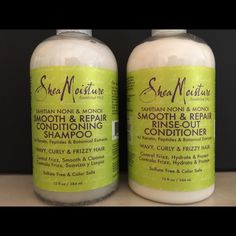 Shea Moisture Smooth & Repair shamp/cond set Nourishes and conditions while replacing lost moisture to wavy, curly and frizzy hair while promoting healthy hair renewal and growth. Helps smooth the hair cuticle, control frizz and maintain straight styles. Shea Moisture Makeup