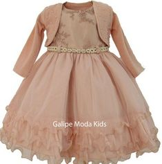 63a9b39ce1a Galipe Moda Kids · VESTIDOS INFANTIL · Vestido Infantil Nude com Bolero