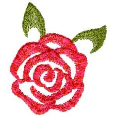 Free Embroidery Design: Pink Rose