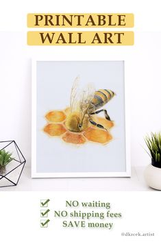 Honey Bee Wall Decor, Honey Comb Decor, Bee Digital Print, Honey Bee Art Download, Bee Lover, Bee Art Print Printable, Bee Picture, Honeybee Spread bees importance and at the same time, you can have fresh finishing details for your home. Bee Pictures, Bee Painting, Bee Art, Art Uk, Wildlife Art, Planet Earth, Printable Wall Art, Wall Art Prints, Digital Prints