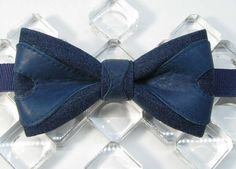 blue jean genuine leather shaped decor bowtie gift for men guy boy designed bow tie butterfly blue leather
