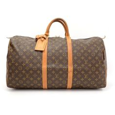Vintage Louis Vuitton Keepall 55 Monogram Canvas Duffle Travel Bag ($491) ❤ liked on Polyvore featuring bags and luggage