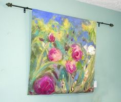 Cottage Peonies, hand-painted with silk applique Silk Painting, Painting Prints, Painted Silk, Hand Painted, Fiber Art, Spoonflower, Peonies, Fabric Design, Art Gallery