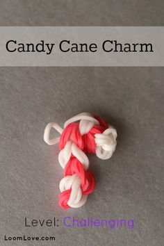 How to Make a Candy Cane Charm #rainbowloom #christmas