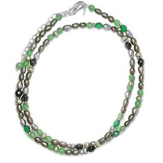 Beaded necklace with Green Pearls, Aventurine, green Agate, and Onyx beads
